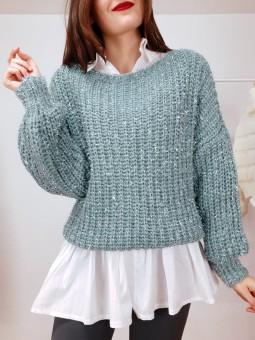 Suéter lana brilli verdemar...