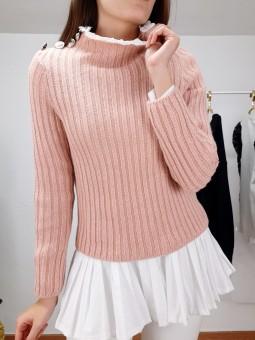 Suéter rosa cuello bordado...