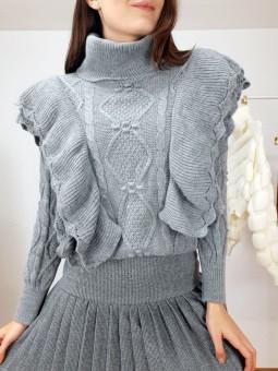 Suéter Mar gris volantes