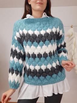 Suéter abullonado azul,...