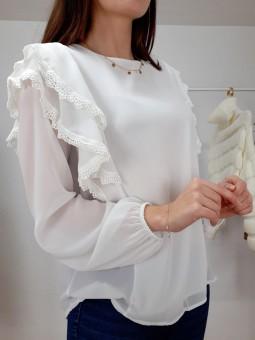 Blusa blanca puntilla Maika