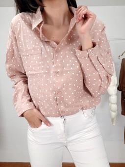Camisa rosa nude topitos...