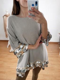 Suéter/vestido beige punto...