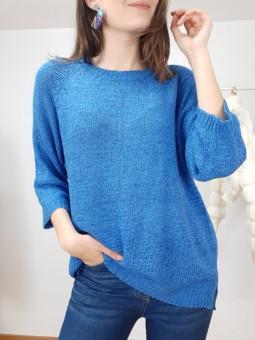 Suéter Sofia liso azul...