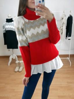 Suéter rojo zig-zag blanco...
