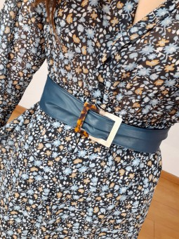 Cinturón polipiel azul...