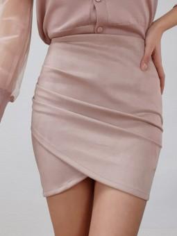 Falda antelina rosa claro...