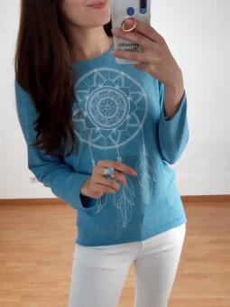 Suéter punto fino azul...