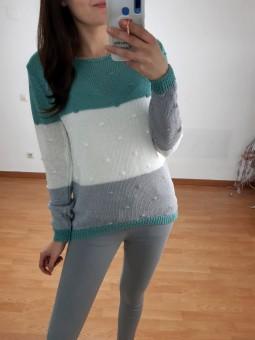 Suéter perle tricolor...