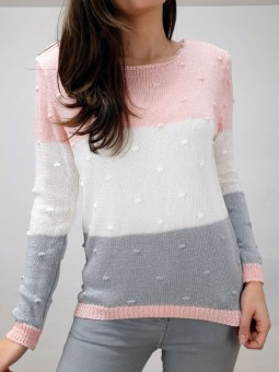 Suéter perle tricolor rosa,...