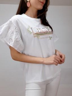 Camiseta blanca Merci manga...