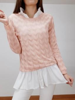 Suéter rosa zig-zag lamé...