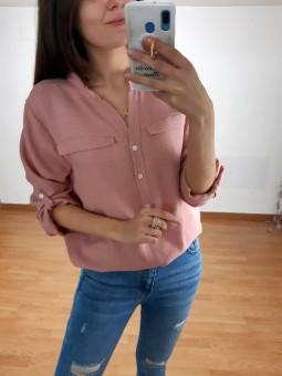 Blusa rosa lisa cuello...