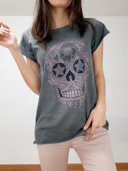 Camiseta gris calavera...