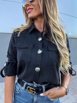 Camisa negra botones estilo...