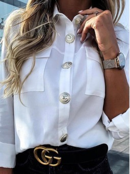 Camisa blanca botones...
