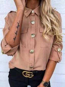 Camisa rosa botones estilo...