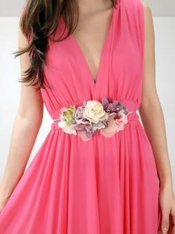 Cinturón de flores tonos...