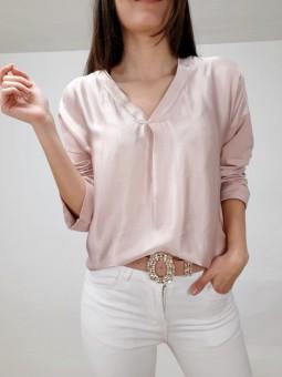 Suéter rosa claro efecto...