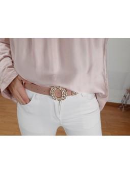 Cinturón rosa claro hebilla...
