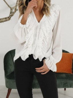 Blusa blanca volantes...