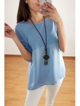 Camiseta manga larga azul...