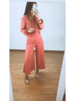 Pantalon culotte coral con...