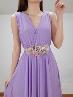 Cinturón flores tonos lila...