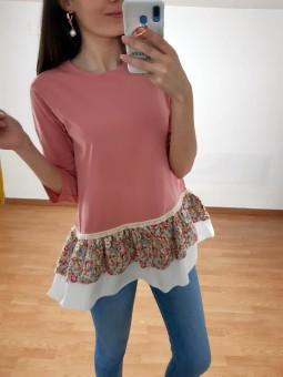 Suéter Julia rosa faldón...
