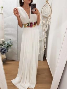 Vestido largo gasa blanco