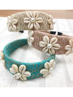 Diadema conchas flores (V06)
