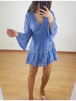 Vestido azul tinta encaje...
