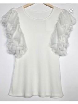 Camiseta blanca mangas tul