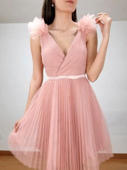 Vestido corto rosa de tul...