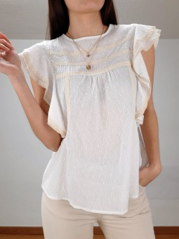 Blusa blanca Mireia bordado...