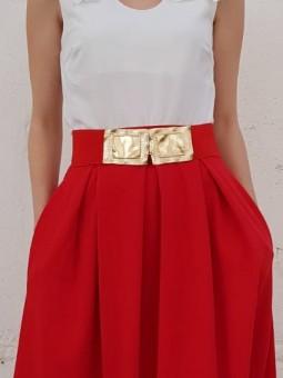 Cinturón rojo elástico dos...