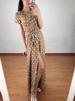 Vestido camel lunares (V07)