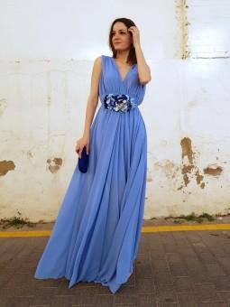 Vestido largo gasa azul...