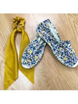 Alpargata mini flores azul...