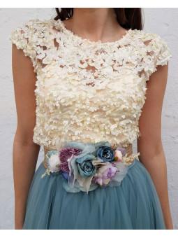 Top mini flores relieve...