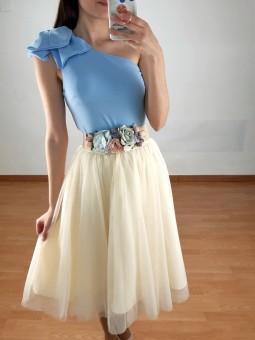 Falda midi tul color marfil