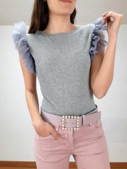 Camiseta canalé gris manga...