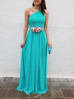 Vestido asimétrico aguamarina