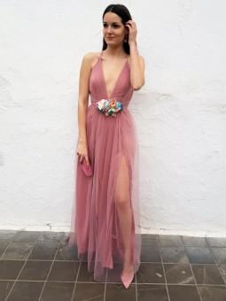 Vestido largo tul rosa...