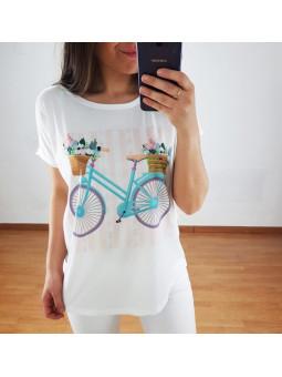 Camiseta bicicleta turquesa...