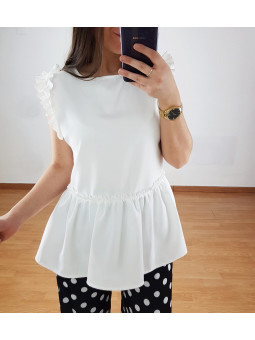 Blusa blanca Alba volante...