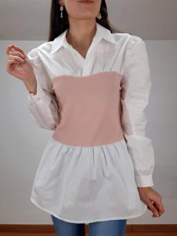Suéter combinado rosa y...