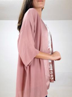 Chaqueta estilo kimono rosa...