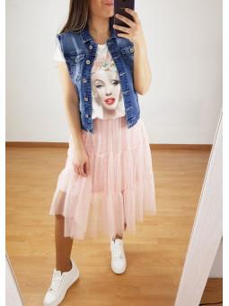 Falda de tul rosa con capas...