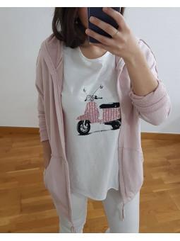 Chaqueta rosa capucha rizo